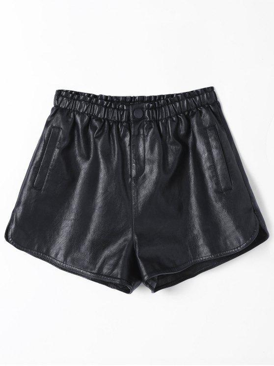 Ruffles cintura alta PU cortocircuitos de cuero - Negro S