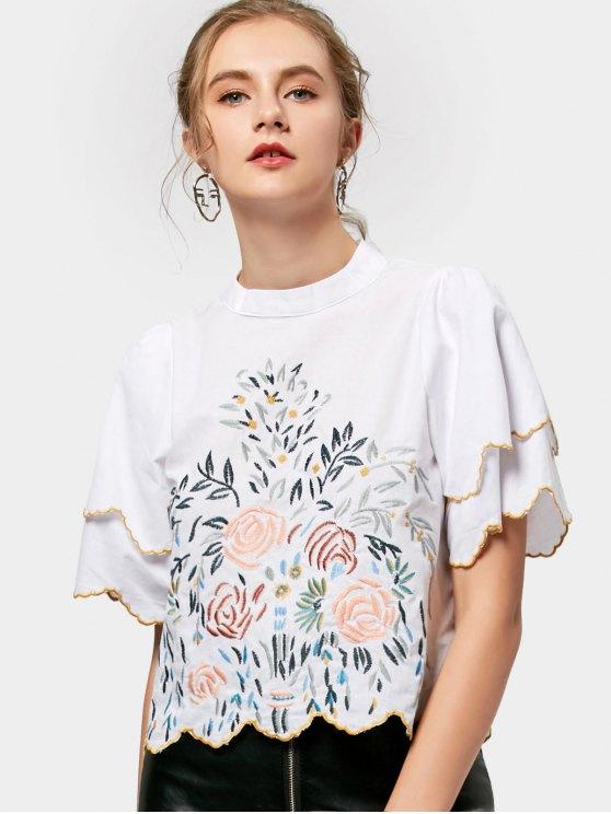 Blusa bordada a la cremallera manchada de la manga - Blanco S