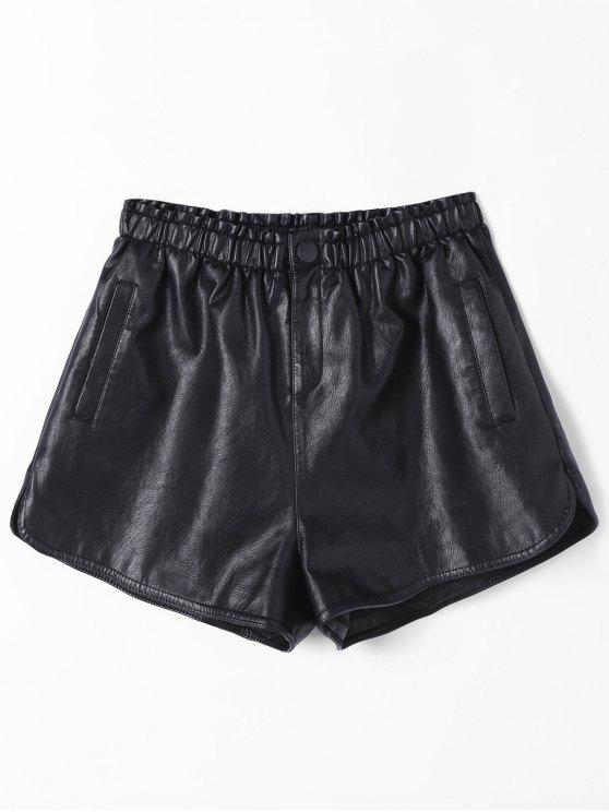 Ruffles cintura alta PU cortocircuitos de cuero - Negro L