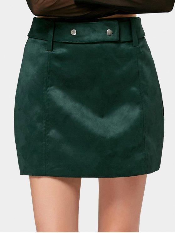 تنورة مصغرة سويدي اصطناعي مربوط بخط A - مسود الخضراء L