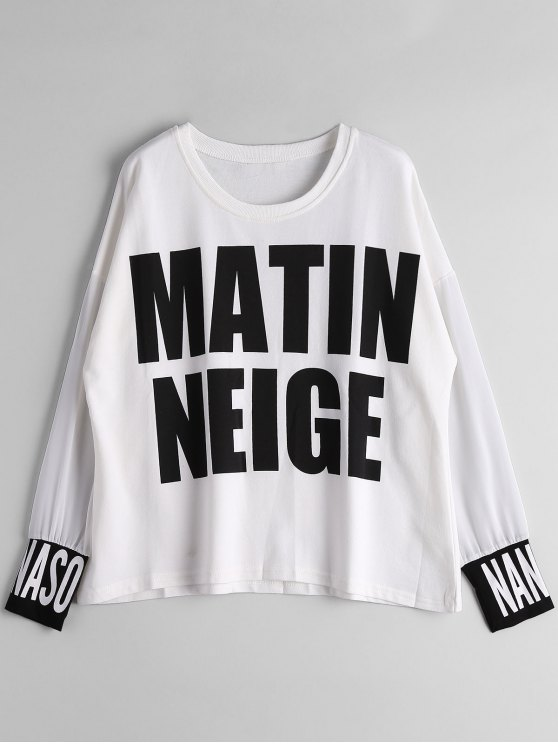 fashion Chiffon Panel Matin Neige Graphic Top - WHITE L