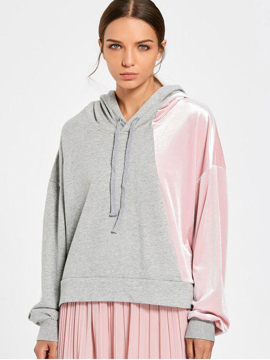 affordable Color Block Cut Out Velvet Panel Hoodie - PINK AND GREY L
