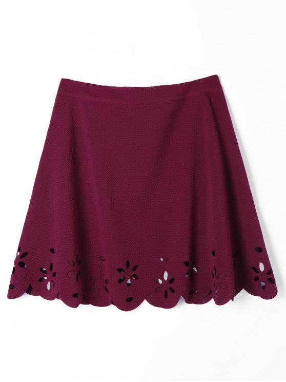 تنورة قطع صدفية بخط A - نبيذ أحمر XL