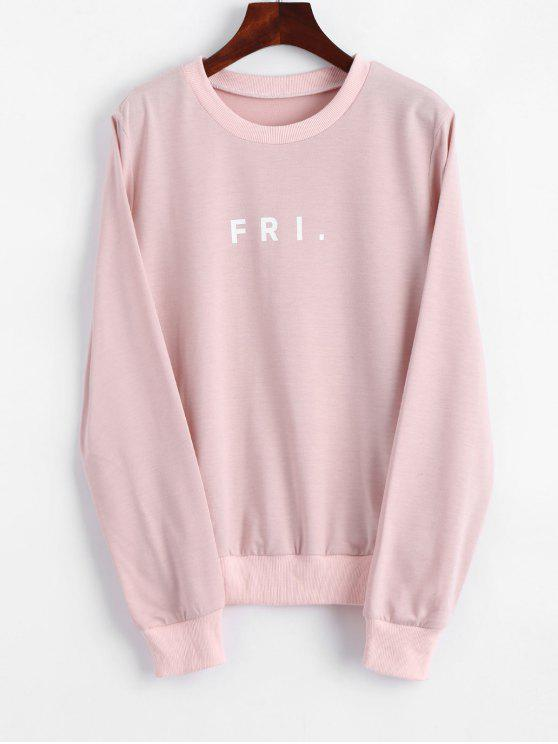 ladies Crew Neck Letter Graphic Sweatshirt - PINK XL