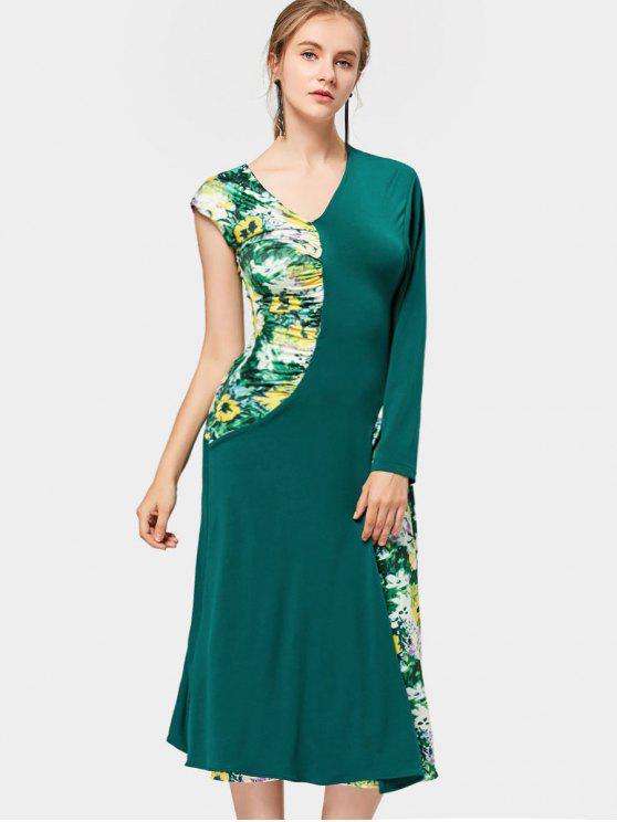 Asymmetric Sleeve Floral Panel Vestido de Midi - Verde M