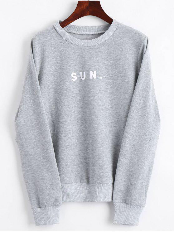affordable Crew Neck Letter Graphic Sweatshirt - GRAY S