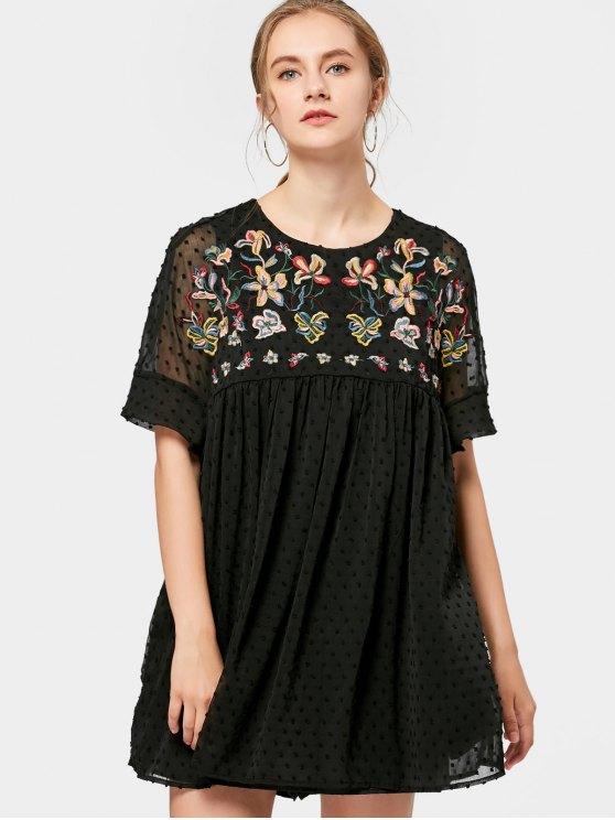 Vestido bordado floral de la túnica del Applique - Negro M