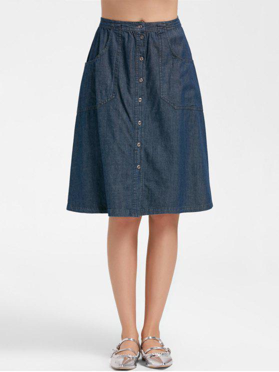 Botón de la falda de una línea Midi Denim - Denim Blue L