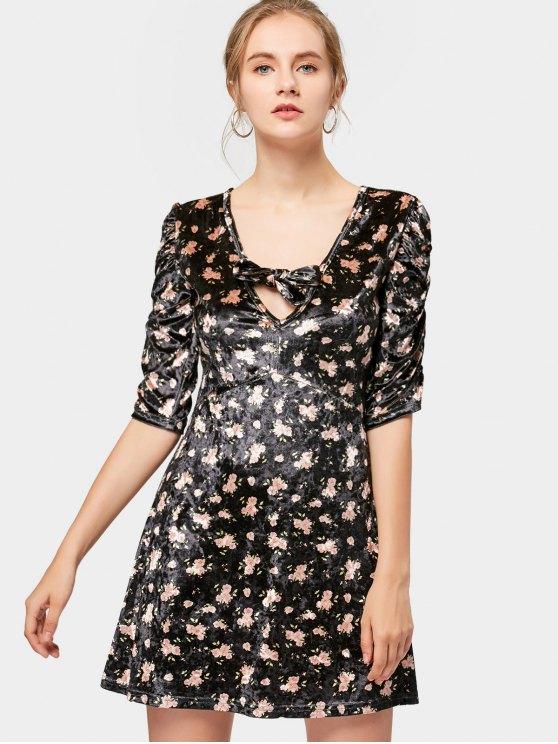 cd9b7c1120 27% OFF  2019 Vestido Curto Floral Decote Com Laço Com Preto