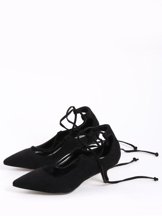 Lace Up Cross Strap Kitten Heel Pumps - Black 39