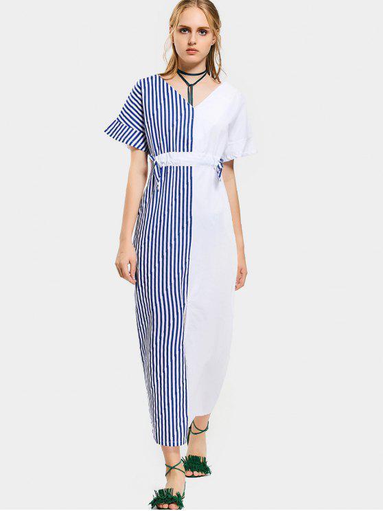 Contraste Slit Striped Maxi Dress - Azul y Blanco L