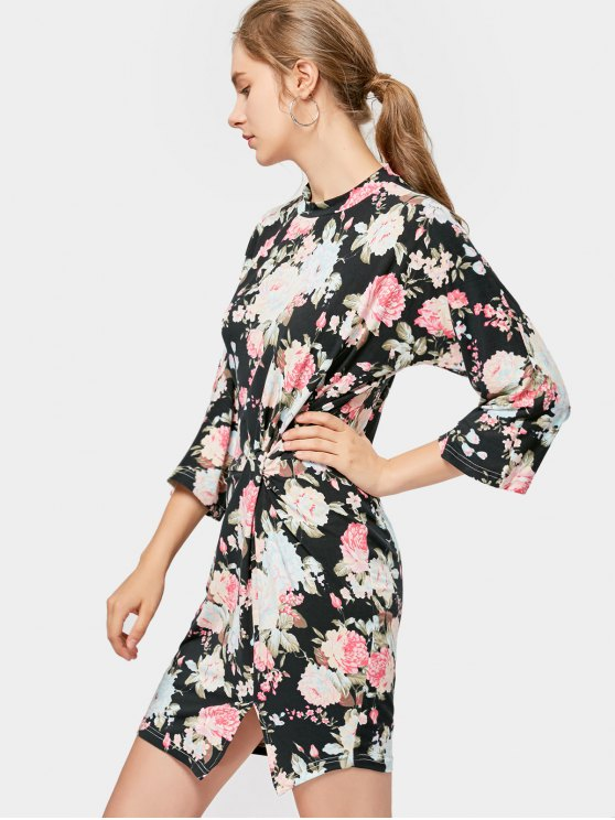 Vestido con estampado de flores - Negro S