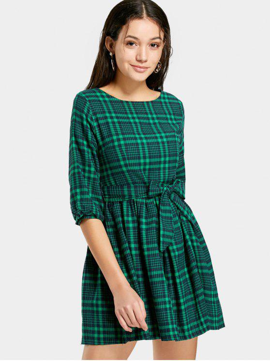 A cuadros con cinturón vestido de línea - Verde M