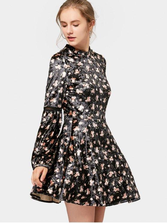 Manga larga de terciopelo floral mini vestido - Negro S