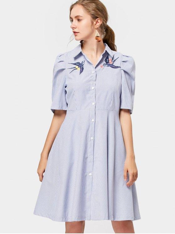Vestido bordado pájaro de la camisa de las rayas - Raya S