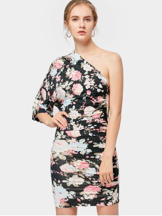 Floral con un hombro Bodycon vestido - Negro S