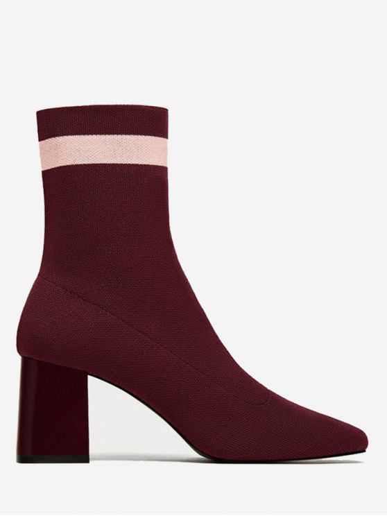 chic Color Block Striped Pointed Toe Boots - WINE RED 36