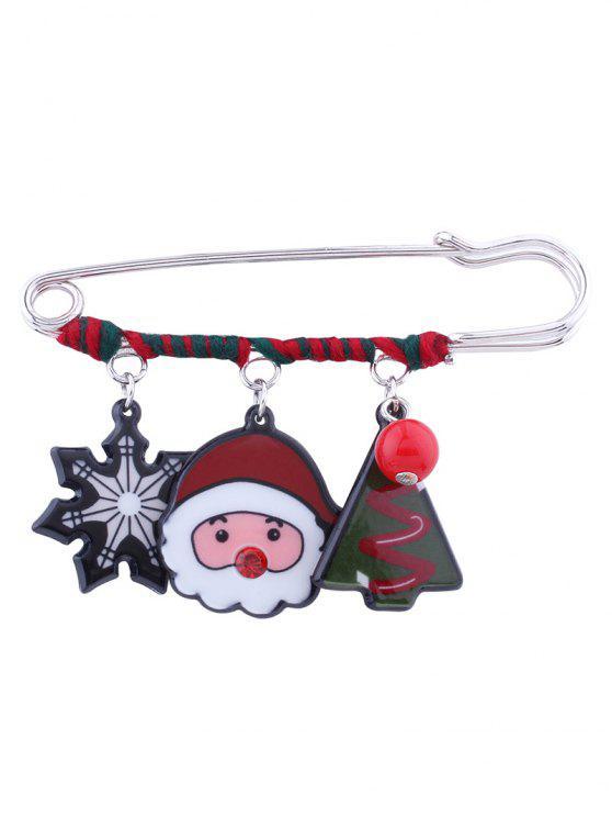 Navidad Santa copo de nieve broche de árbol de cuentas - Rojo