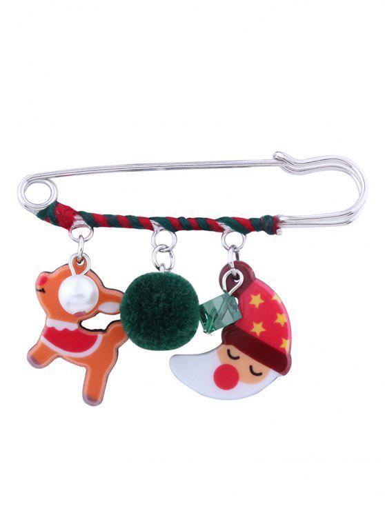 shop Christmas Santa Deer Moon Ball Brooch - RED