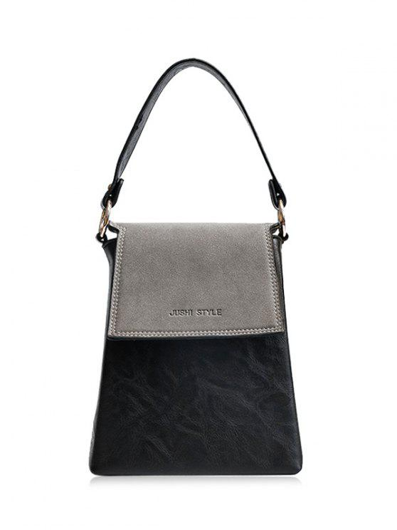 outfits Embossing Color Block Faux Leather Handbag - GRAY