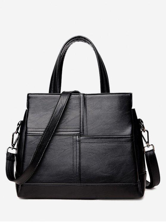 shops Cross Stitching Faux Leather Tote Bag - BLACK