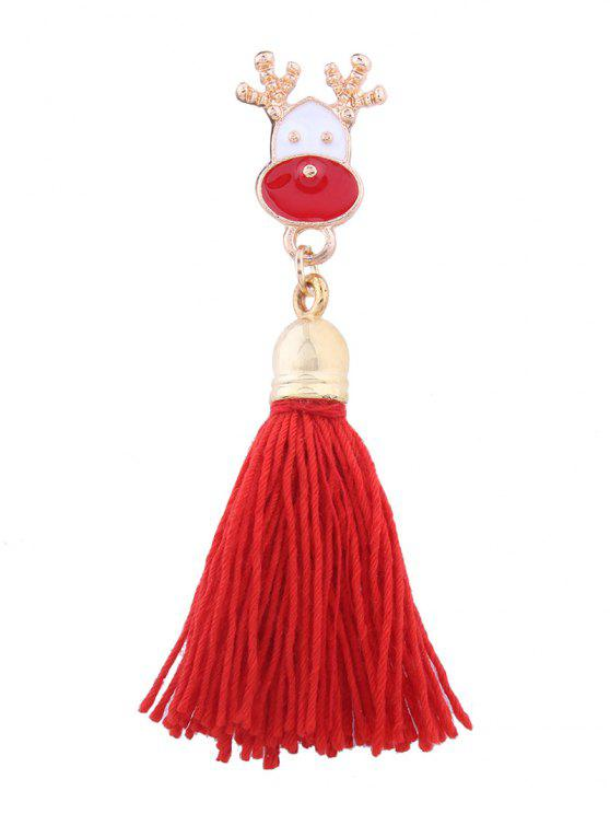 latest Christmas Elk Tassel Decoration Brooch - RED