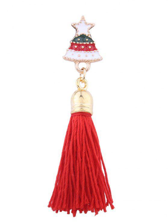 fashion Christmas Tree Star Tassel Brooch - RED