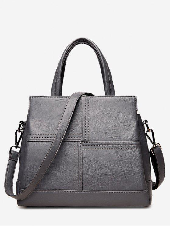 trendy Cross Stitching Faux Leather Tote Bag - GRAY