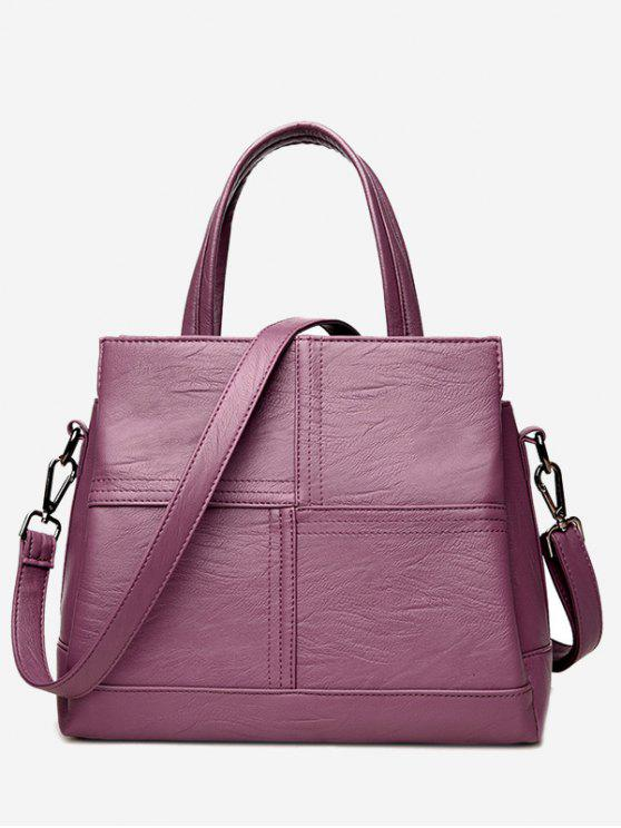 unique Cross Stitching Faux Leather Tote Bag - PURPLE