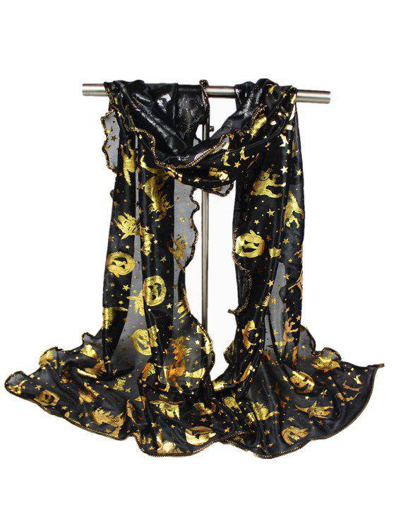 Calabaza de Halloween Bruja Bat Estrellas Gilding Bufanda - Negro
