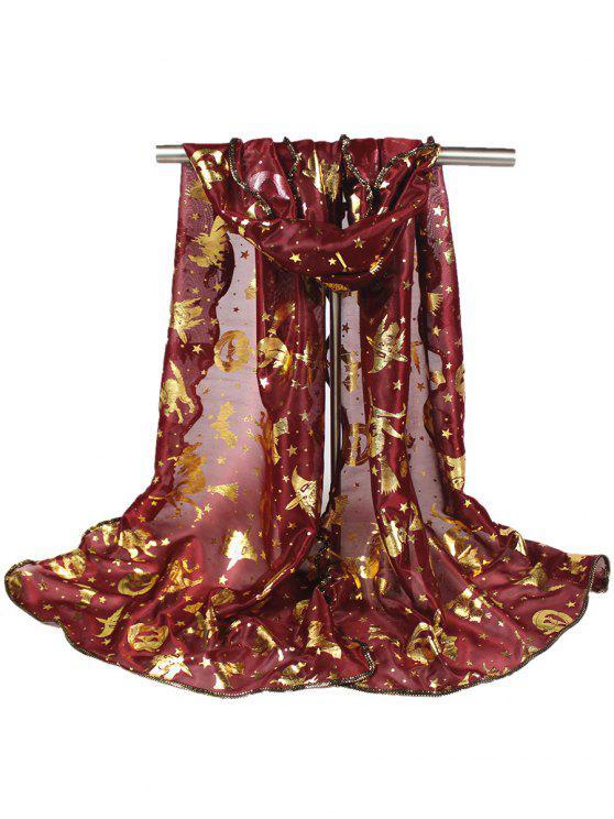 Sciarpa di doratura della stella di streghe della strega della zucca di Halloween - Vino rosso