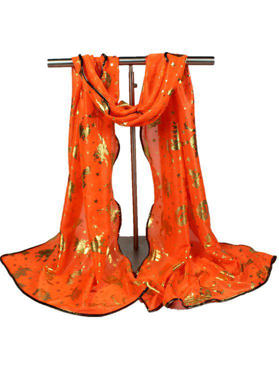 Calabaza de Halloween Bruja Bat Estrellas Gilding Bufanda - Naranja