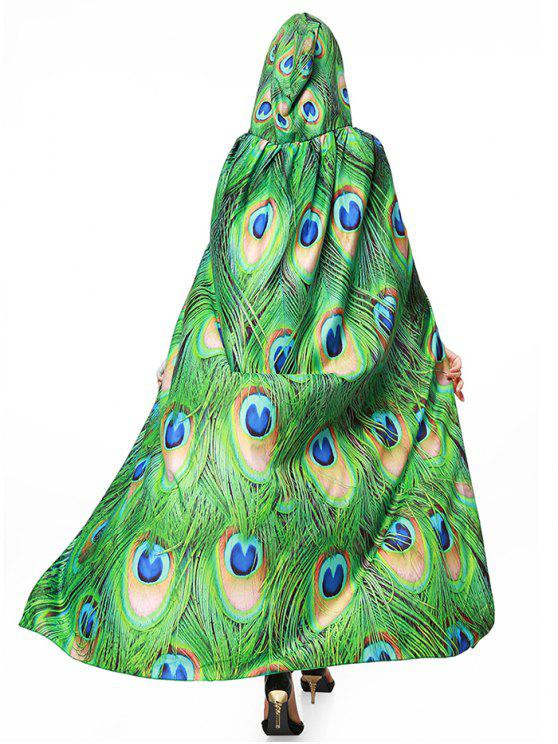 Peacock Feather Print Magic Cape - Vert
