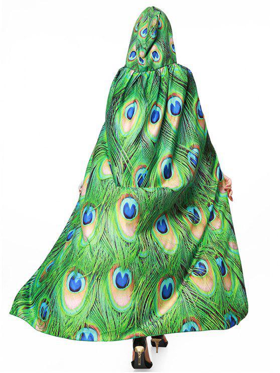Mantello magico di stampa di piuma di pavone - Verde
