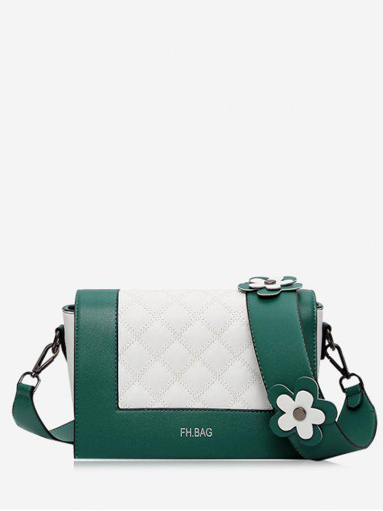 outfit Flower Quilted Color Block Crossbody Bag - GREEN