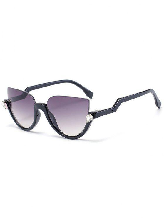 Gafas de sol de medias gafas de gato - Marco Negro + Lente Gris