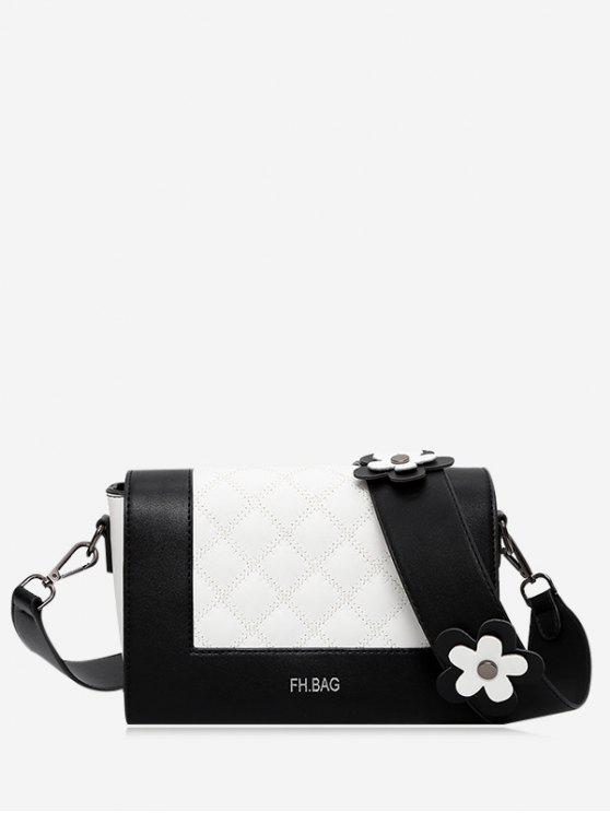 shops Flower Quilted Color Block Crossbody Bag - BLACK