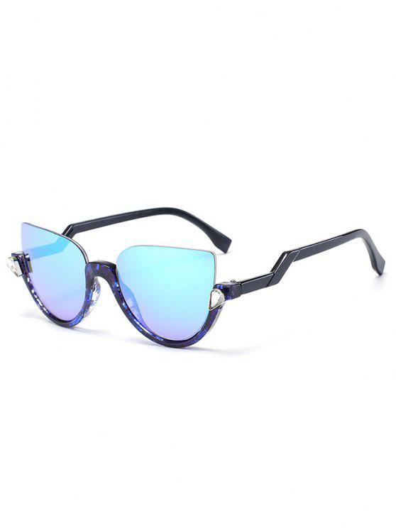 Gafas de sol de medias gafas de gato - Marco Azul Transparente + Lente Azul