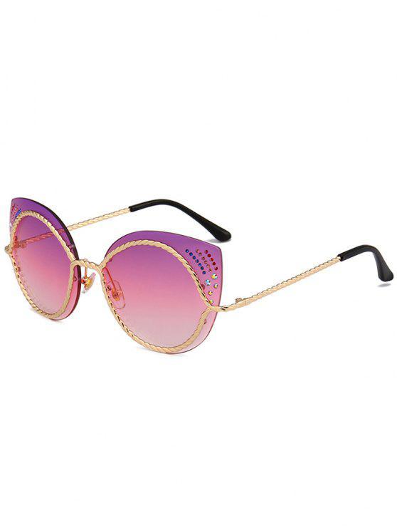3418294fb874a 23% OFF  2019 Óculos De Sol De Olhos De Gato Espelho De Strass Com ...