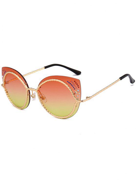 Óculos de sol de olhos de gato espelho de strass - Mandarim