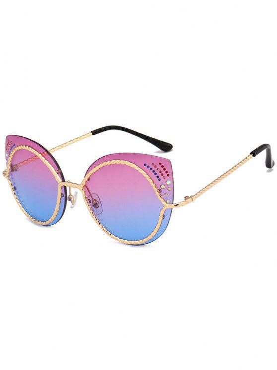 Óculos de sol de olhos de gato espelho de strass - Azul Violeta
