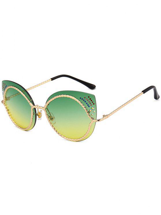 Lunettes de soleil en miroir - Jaune+ Vert