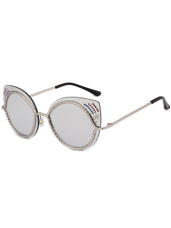 Óculos de sol de olhos de gato espelho de strass - Prateado
