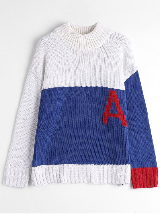 Mock Neck Color Block Chunky Sweater - BLUE AND WHITE ONE SIZE