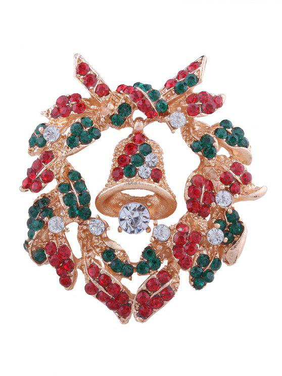 latest Christmas Bell Wreath Rhinestone Brooch - COLORMIX