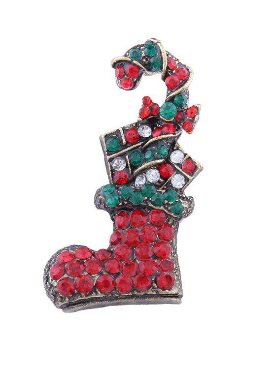 fashion Christmas Shoe Candy Cane Rhinestone Brooch - RED