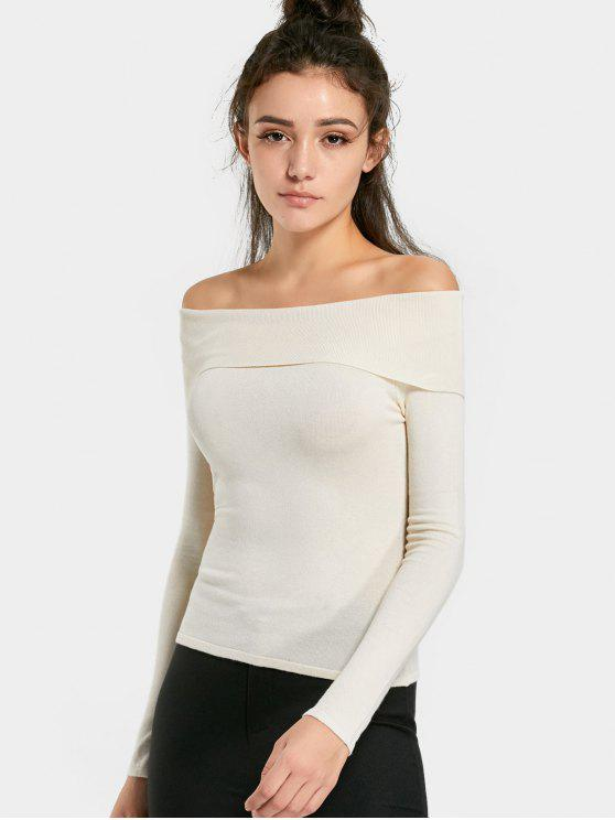 affordable Off The Shoulder Plain Knit Top - OFF-WHITE M