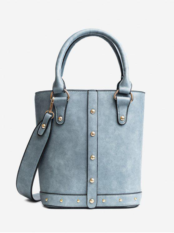 sale Stud Faux Leather Tote Bag - BLUE