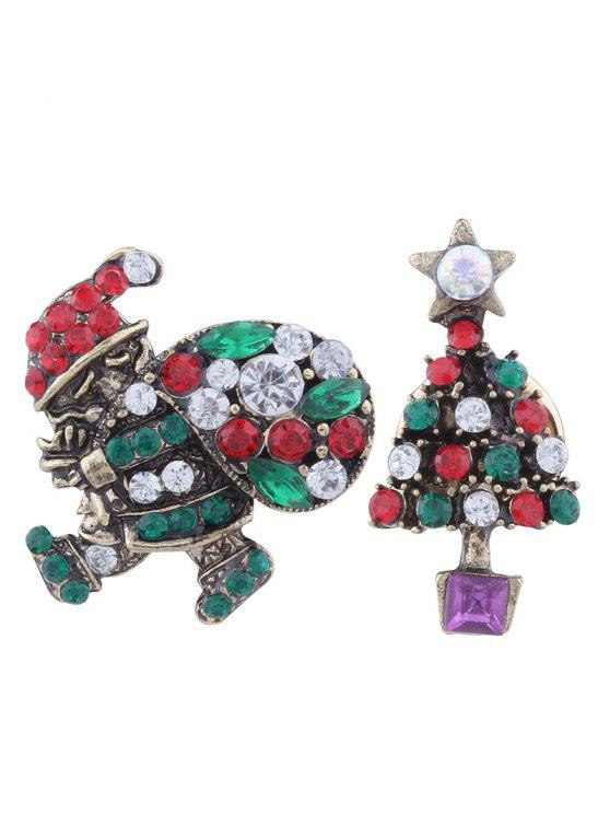 buy Rhinestone Christmas Santa Star Tree Brooches - GREEN