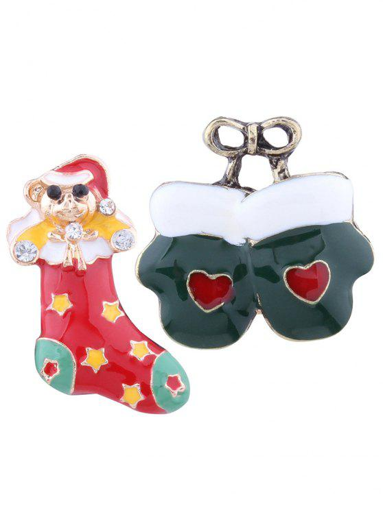 women Christmas Stocking Bows Heart Gloves Brooches - COLORMIX